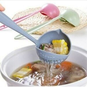 NWT 2 in 1 Soup Spoon Long Handle Dinnerware Kitch